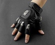Heren Real Leather Skull Punk Rocker Rijden Motorfiets Biker Vingerloze Handschoenen