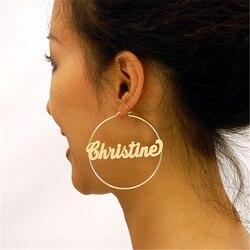 Minimalismo nome brincos de aço inoxidável cor jóias 30mm 70mm boêmio brincos para mulher boucle doreoreille femme