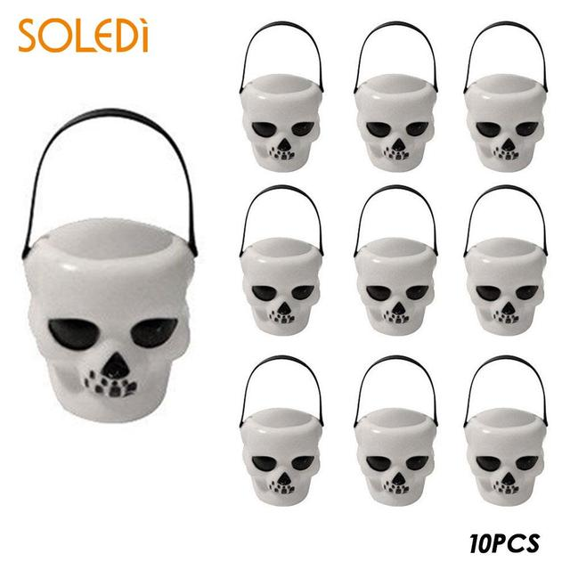 halloween candy pot halloween bucket novelty skull witch plastic chidren door window show toy