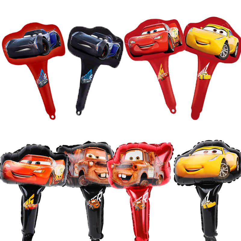 50pcs Mcqueen hand stick foil balloons disney car globos birthday party decorations kids toys balloon Baby shower boy ball