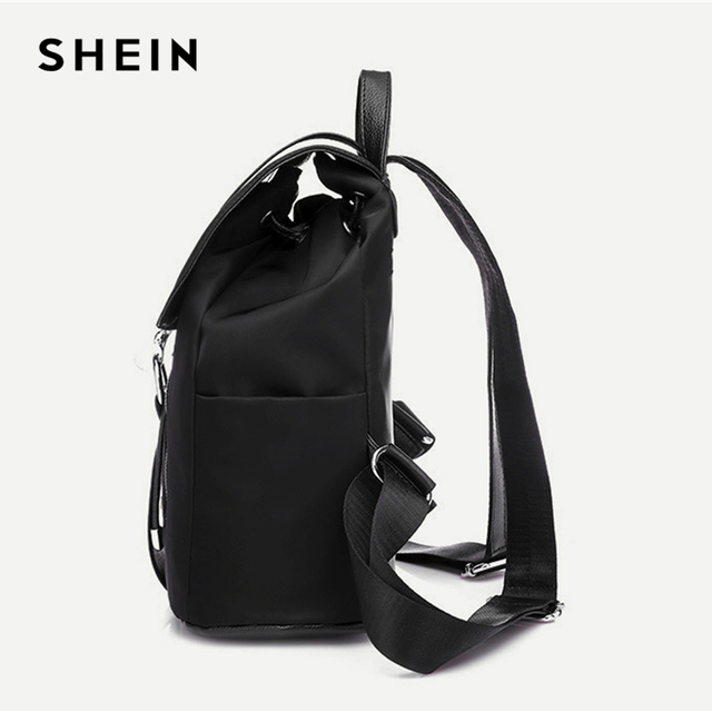Black Highstreet Modern Lady Metal Ring PU Backpack Fashion Backpacks 2