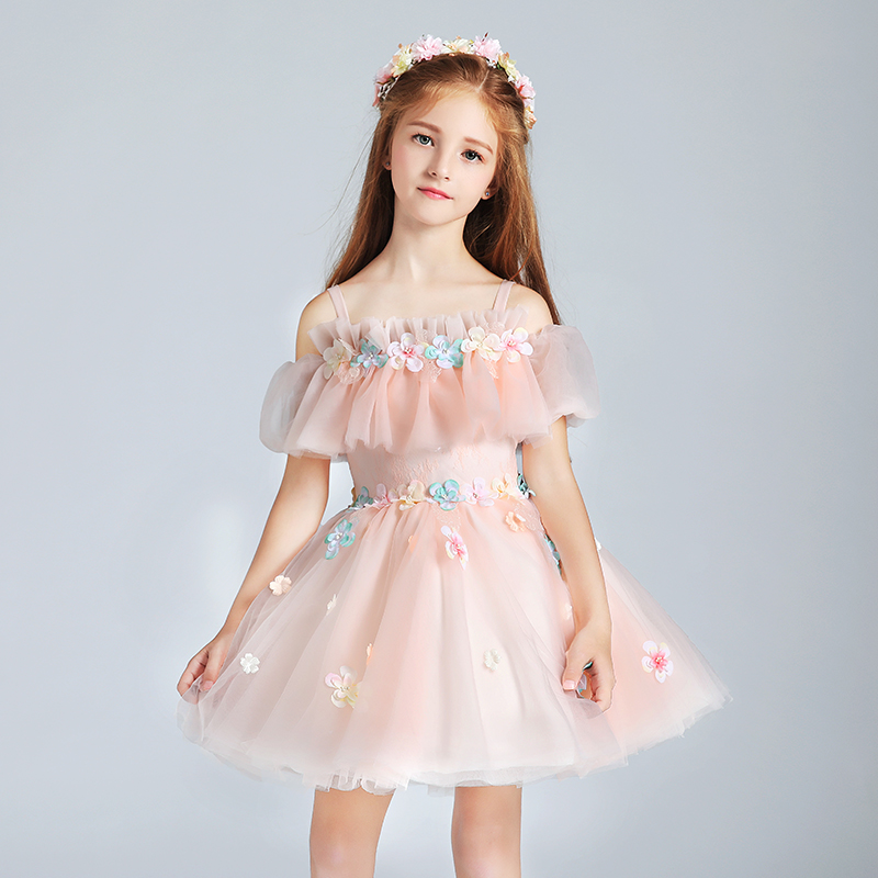 Luxury Kids Dress for Girls Wedding Floral Mesh Girl Dress Elegant Princess Party Pageant Formal Gown for Teen Children S267
