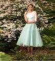 2016 Latest Junior Mint Green Bridesmaid Dresses Tea-Length Short Sheer Lace Half Sleeve Scoop Neckline Formal Wedding Party