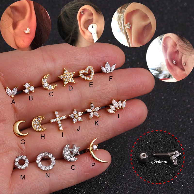 1Pc Moon Star Heart Cross Flower Crown Helix Piercing Tragus Stud Conch Earring Gold & Silver Color Cz Cartilage Stud