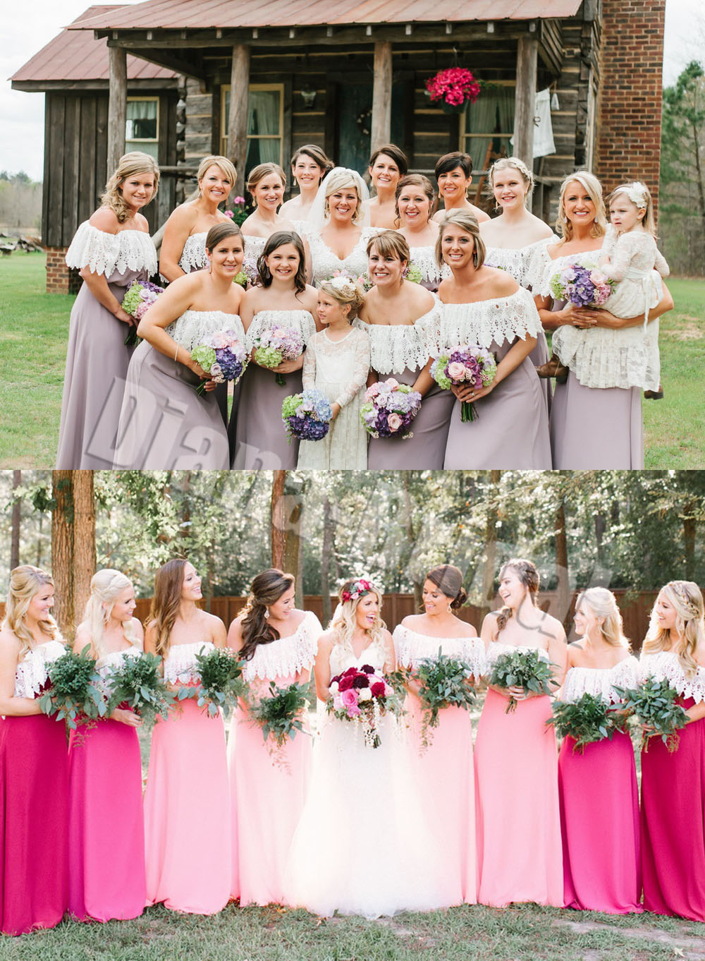 Elegant Bohemian Strapless Lace Covered Backless Bridesmaid