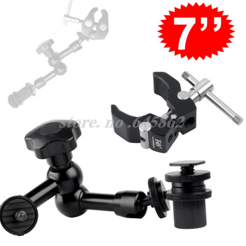 "7"" Inch Articulating Magic Arm + Small Super Clamp for LCD Monitor LED light Free shipping worldwide +tracking number"
