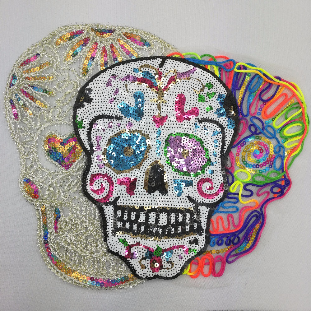 Sequins Patch Skull DIY Clothes Patches For Clothing Sew On Embroidered Patch Motif Beaded ...