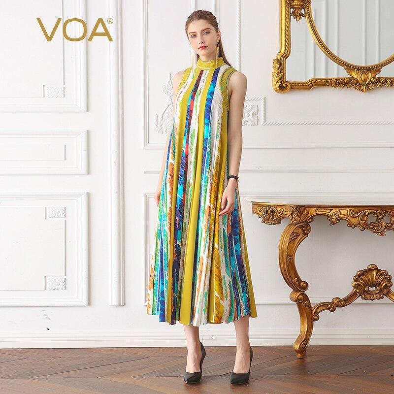 db885dd701890 VOA Silk Jacquard Pearl Beading Boho Print Long Dress Women Plus Size 5XL Loose  Casual Sleeveless
