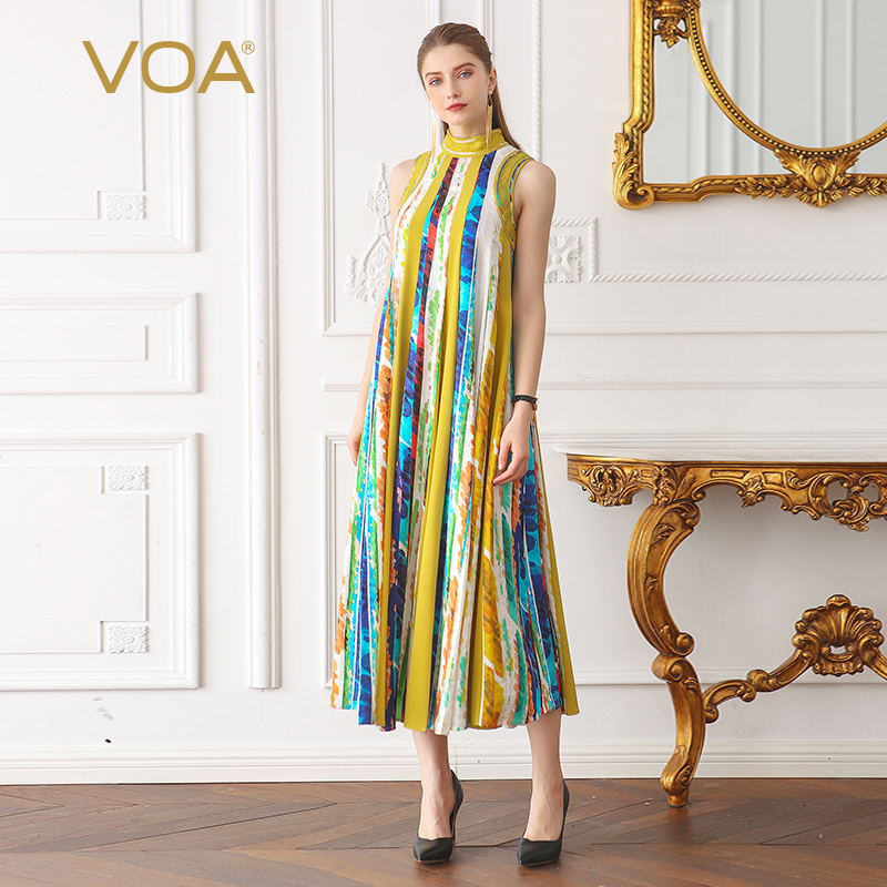 VOA Silk Jacquard Pearl Beading Boho Print Long Dress Women Plus Size 5XL Loose Casual Sleeveless Pleated Dress Summer A02701