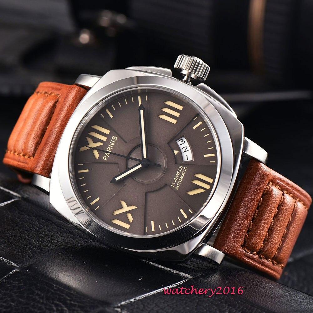 44mm parnis cadran brun montres mécaniques marque lumineuse 100 M nager 2017 nouveaux arrivants hommes montres Top marque de luxe montre automatique