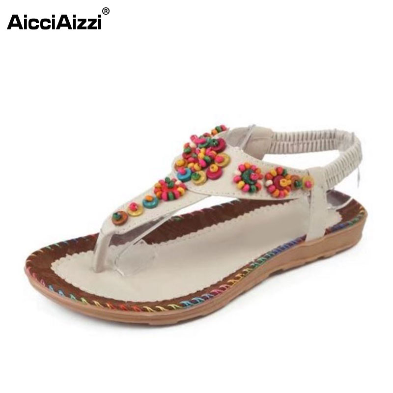 AicciAizzi Bohemia Women Summer Flats Sandals Beading Bowknot Flip Flops Flats Sandals Summer Vacation Women Shoes Size 36-42