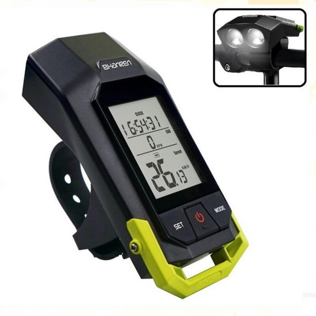 SHANREN Raptor II Wireless Bike Cycling Computer Backlight LCD Display with Speedometer Odometer Calorie Counter and Night Light