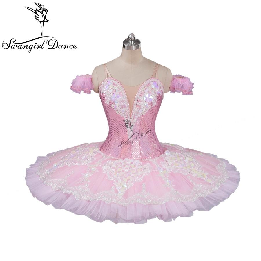 lyserød ferskenfee professionel ballet tutu klassisk ballet tutu til piger pandekage tutu med blonder ballerina tutusBT9087