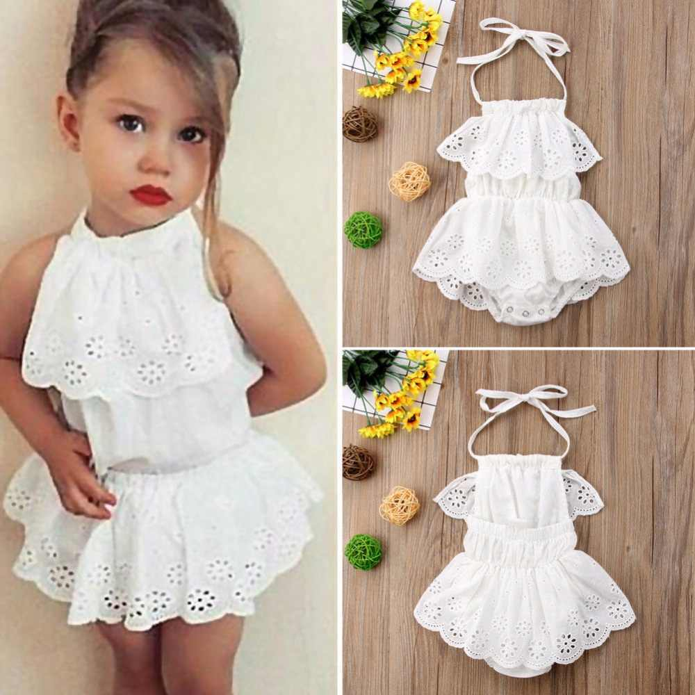 cb2e395c2a1 Infant Baby Girls Clothes Hollow out Suspender Sleeveless Romper White  Backless Lace Ruched Jumpsuit Bebe Girls