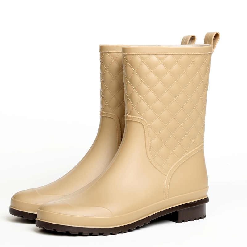 2019 mode gummi warme schuhe neue plaid casual gummi schuhe damen regen stiefel wasser schuhe in die rohr frauen erwachsene regen stiefel