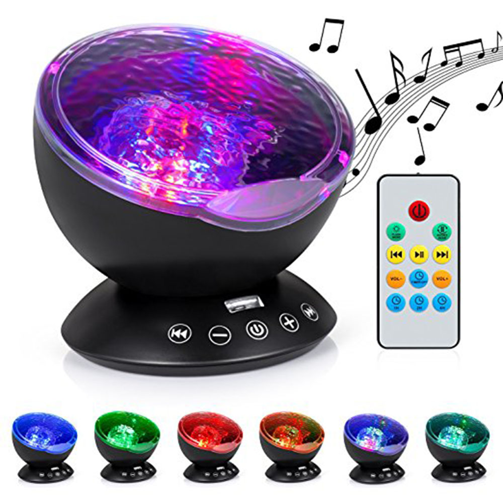 Aurora Master LED Light Lamp 7 Colorful Ocean Wave Relax Projector LED Night Light Lamp MP3 Iphone Music Input Speaker 8 modes