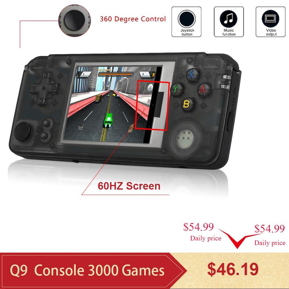Q9 3000 Games Retro Handheld Game Console 60Hz Portable Consoles 3 Mini Video Gaming Player 360