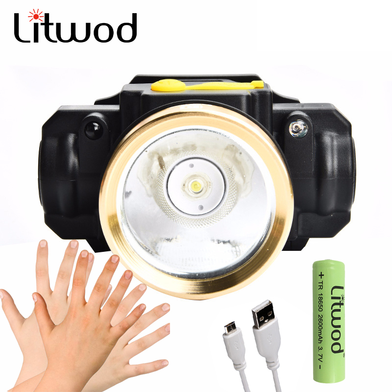 Litwod z2090 10W LED Body Motion Sensor Headlamp Mini Headlight Rechargeable Outdoor Camping Flashlight Head Torch Lamp With USB чехол для iphone 5 ажур золотой