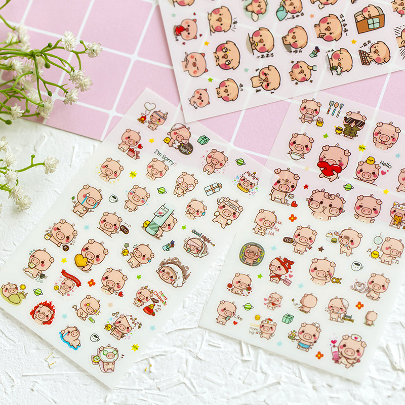 6 Sheets Pink Piglet Adhesive Stickers Decorative Album Diary Stick Label Paper Hand Account Decor