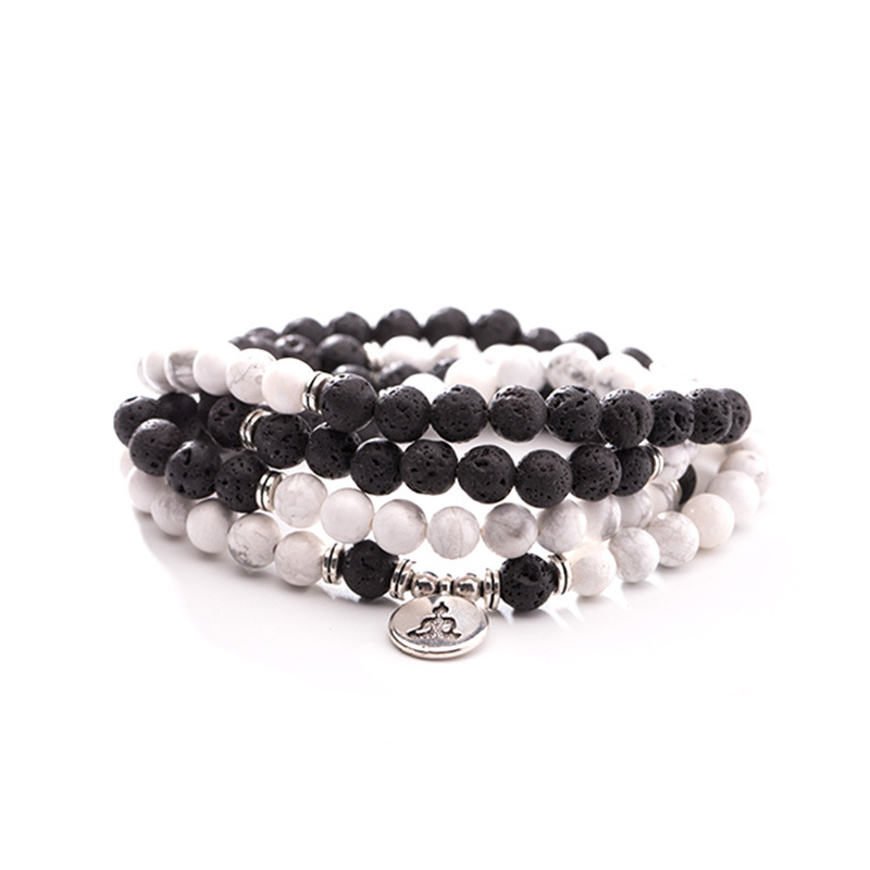 108 lava natural stone Howlite mala bracelet elasticity OM,Lotus, Buddha Charm Bracelet for women yoga necklace dropshipping