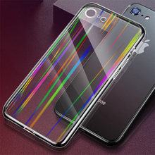 Luxury Transparent Blank Aurora Tempered Glass Phone Cover Back Case for Apple iPhone XR XS Max X 8 7 Plus Capa Coque Fundas(China)