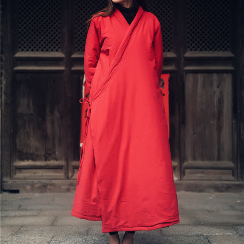 Women Chinese style Oblique placket plus Cotton ParkasVintage Winter Cotton Linen Thicken Loose Warm Clothes Robes Casual Coats