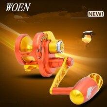 WOEN CNC rueda de aleación de aluminio cuerpo pesado rueda de tambor de Trolling 11BB Placa de hierro de vibración lenta relación de velocidad de la rueda de pesca: 6,3: 1