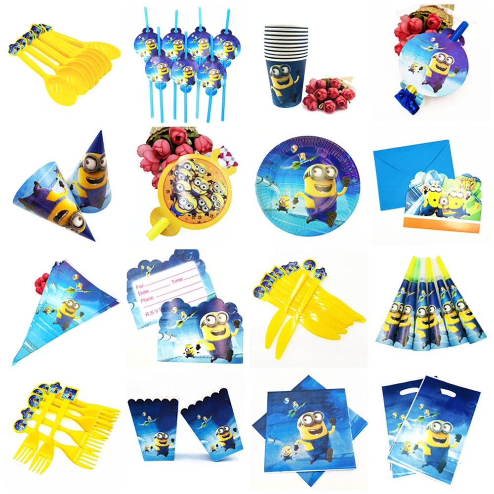 Minions Birthday Party Supplies Decorations Kids Disposable Tableware Cup Napkins Plates Tablecloth Baby Shower Event Favors Set