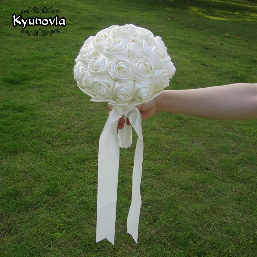 Diy Flower Bouquet Wedding: Handmade Satin Rose Bouquet Custom Ribbon Rose Wedding
