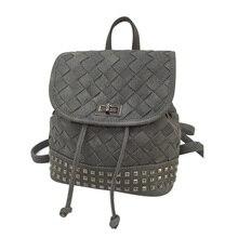 Летние женские шнурок тканые рюкзак дизайнер заклепки сумки высокого качества PU кожаные рюкзаки колледжа дамы туристические рюкзаки