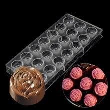 Panadería y pastelería herramientas del molde del chocolate de plástico rose flower, 3d decoración de la boda de policarbonato chocolate moldes cocina bakewar