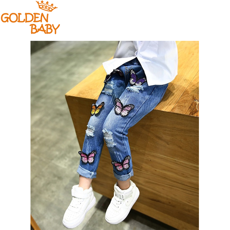 Baby girls jeans new spring 2017 children spring and autumn cartoon butterfly hole pants girls jeans pants fashion new design