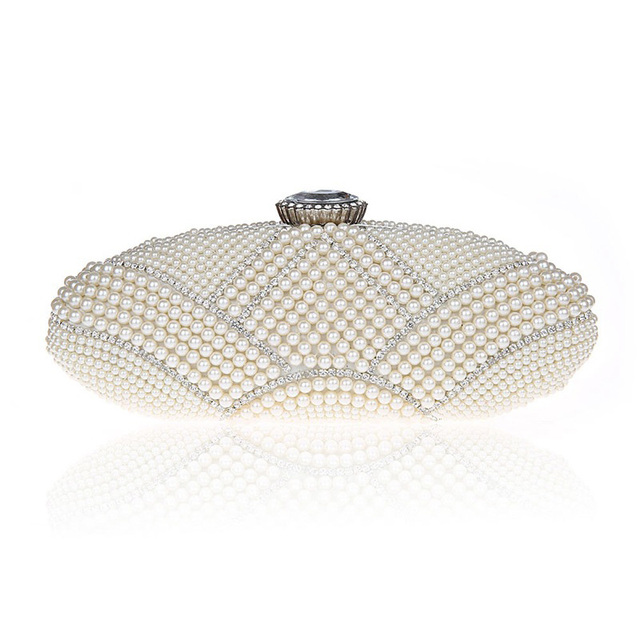 Luxury Long Evening Hand Bag Women Pearl Crystal Evening Clutch Bags Noble Ladies Champagne Beige Party Long Purse bolso XA827H