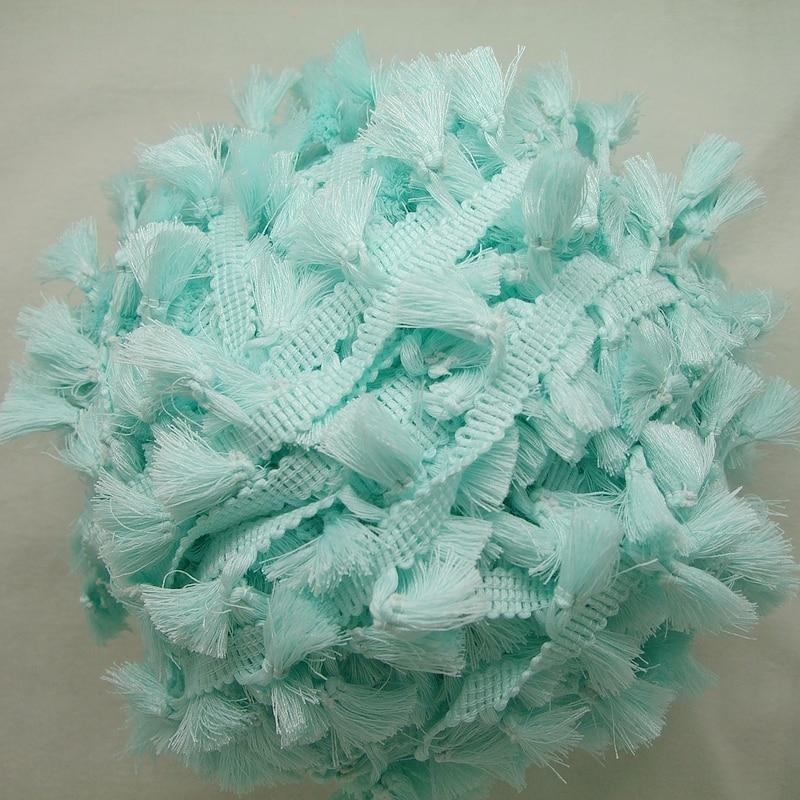 3 yardy / Lot Vintage 100% bavlna vázaná mátově zelená lemovka s roztomilými střapci 1cm šířka pásky 1,5cm délka střapce