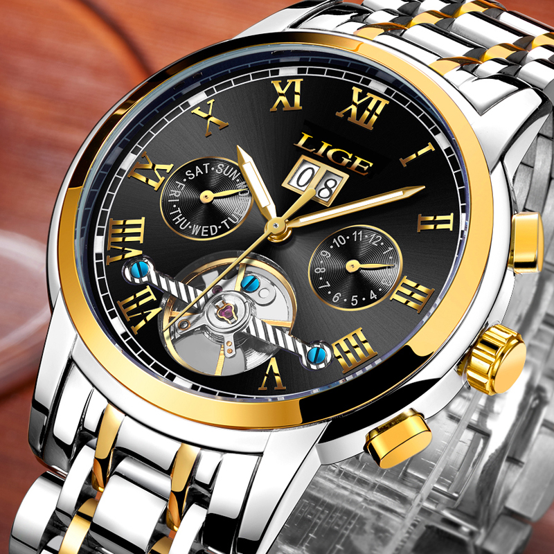 LIGE Mens Watches LIGE Top Brand Luxury Tourbillon Waterproof Automatic Mechanical Watch Mens Stainless Steel Sport Watch+Box