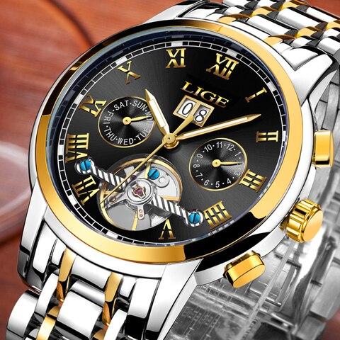 LIGE Mens Watches LIGE Top Brand Luxury Tourbillon Waterproof Automatic Mechanical Watch Mens Stainless Steel Sport Watch+Box Pakistan