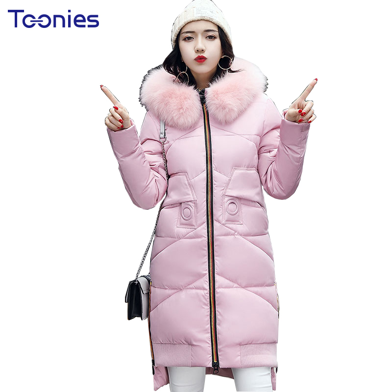 Plus Size 3xl Women Winter Coat and Jackets Padded Parkas Overcoat Thick Long Warm Faux Fur Hooded Zipper Letter Pockets 2017 plus size letter print hooded sweatshirt dress