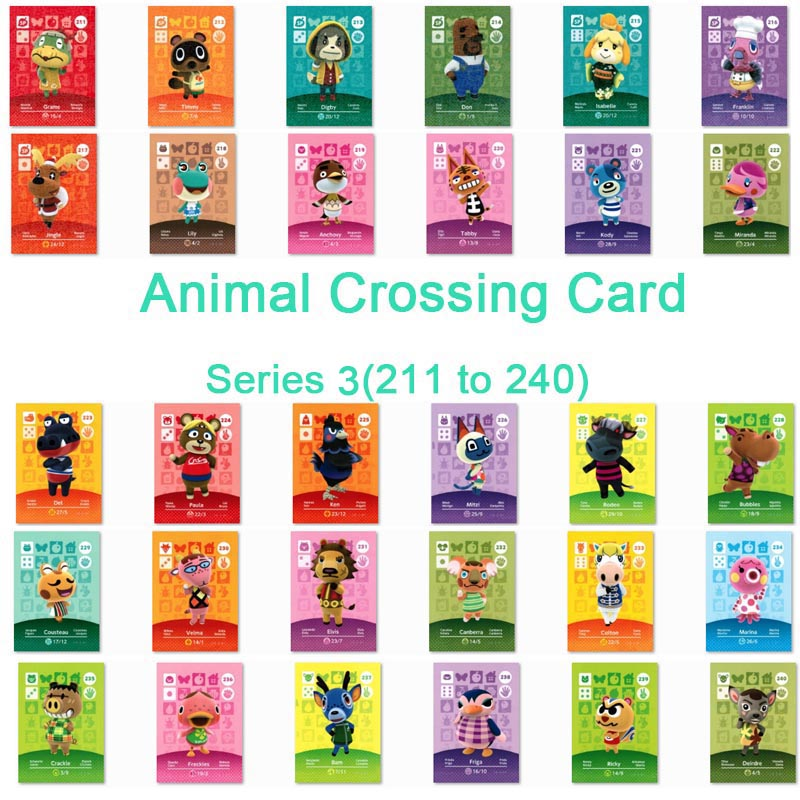 الحيوان معبر بطاقة Amiibo بطاقة العمل ل NS ألعاب سلسلة 3 (211 إلى 240)