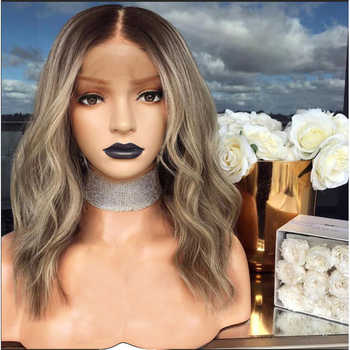 """Anogol Short Body Wave 14\"""" Heat Resistant Hair Dark Rooted Ombre Blonde Synthetic Lace Front Wigs For Black Women"""