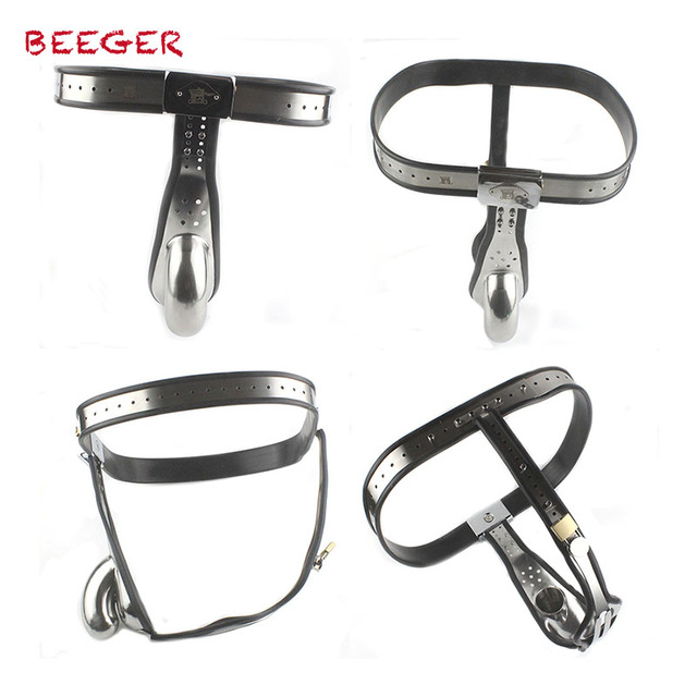 BEEGER Male Chastity Belt mens Stainless Steel Chastity cage with Removable Anal Bead Plug,Stainless Steel Cock Entrapment Belt