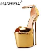 Лето 2018 женская обувь на платформе 9,5 см сандалии из металла шпильки и высокие каблуки 22 см сандалии перетащите queen CD Большой Размер 40- 48