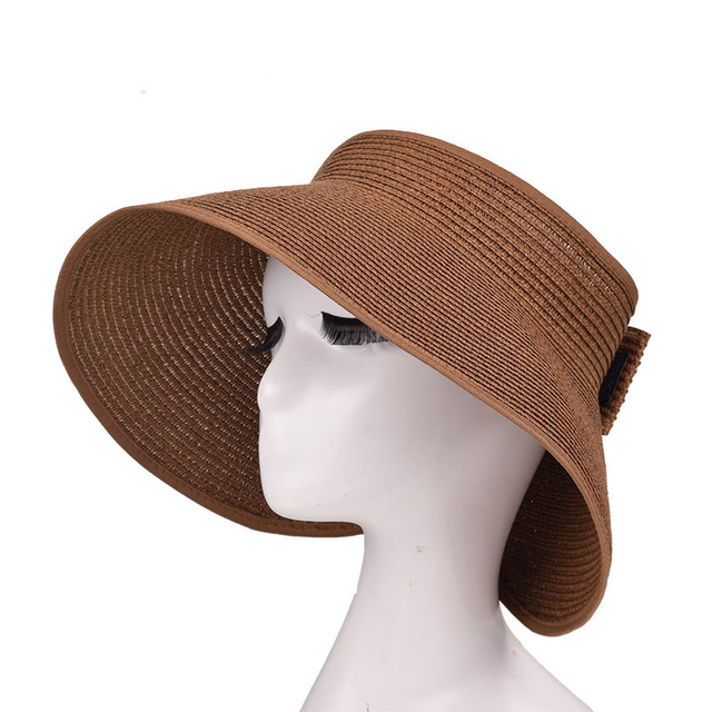 b29c55243e38c Women s Wide Brim Roll up Straw Sun Visor ZZ4067-in Sun Hats from ...