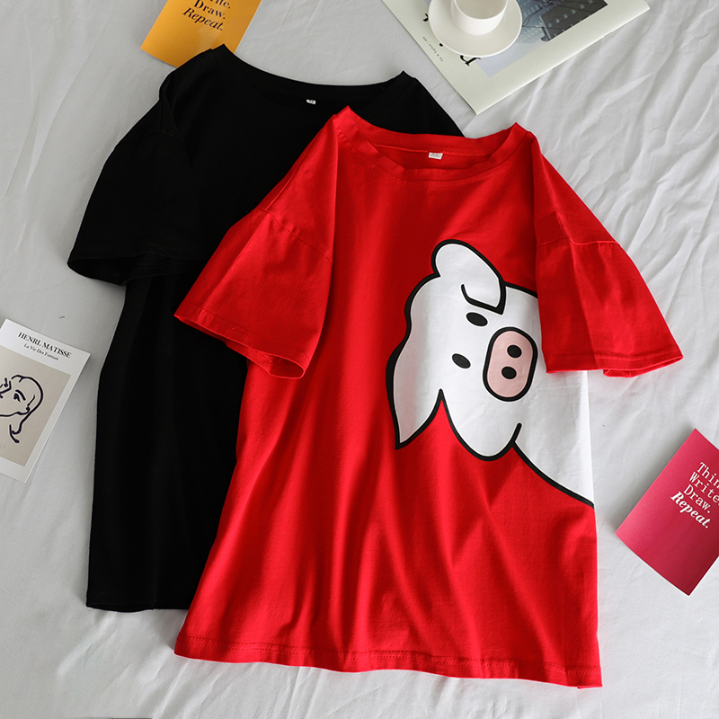 Couple Clothes Leisure Trendy Loose T-shirts Women Harajuku Cartoon Printed Simple All-match Unisex Street Tshirt Summer Tee Top