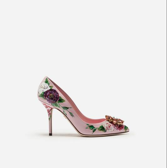 Pointu Nouveautés Stiletto Embelli As Dames Bout De Picture Talons Fleurs Picture Chaussures Strass Femmes as Imprimé Partie Pompes rY8qrz