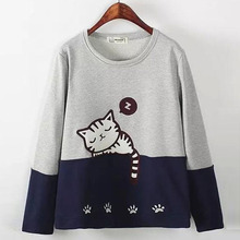 Cute Women Long Sleeve Sweatshirts Cotton Knitted Autumn Sweatshirts O-neck Loose Maxi 2018 Fashion Pullovers Ladies Clothes -/
