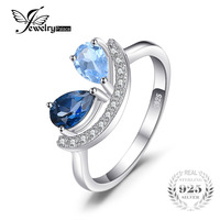 JewelryPalace Fashion 1 Ct Pear Natural Sky Blue Topaz London Blue Topaz Ring 925 Sterling Silver
