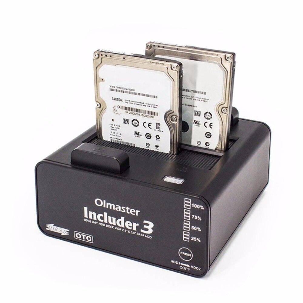 OImaster double baie HDD Dock Station d'accueil Compact disque dur externe pour 2.5 pouces 3.5 pouces SATA HDD USB 3.0