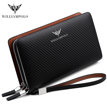 WilliamPOLO Fashion New Arrival 100% Cow Leather Business Solid Zipper Long  Mens Clutch Wallet Handbag Wallet PL170