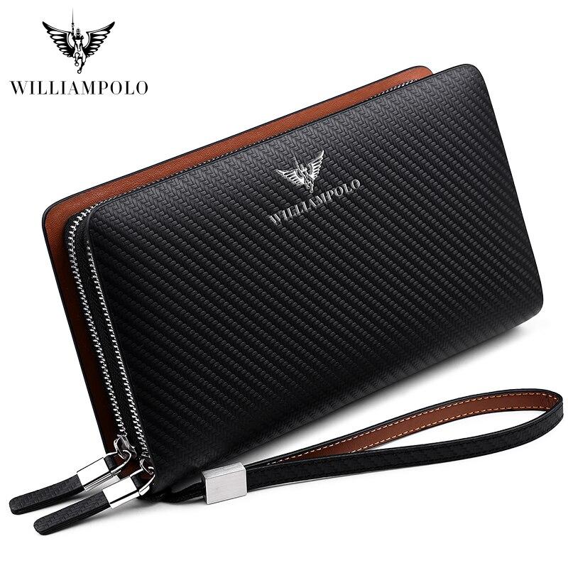 Williampolo 2019 패션 새로운 도착 100% 암소 가죽 비즈니스 단색 지퍼 긴 망 클러치 지갑 핸드백 지갑 pl170-에서지갑부터 수화물 & 가방 의  그룹 1