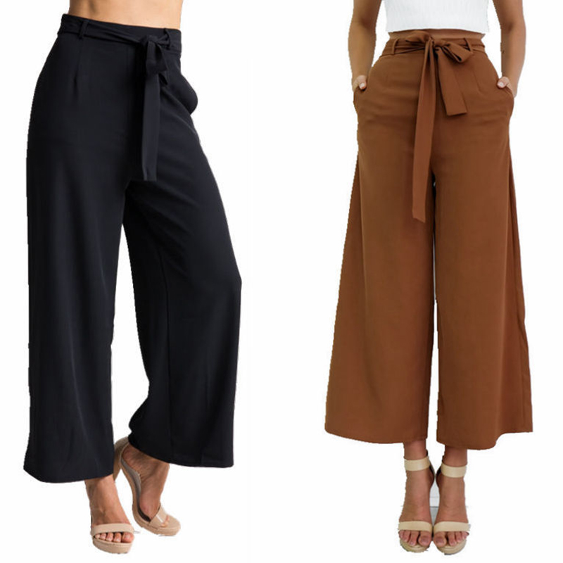 2017 New Pants Capris for Woman Casual Trousers Mid Waist Wide Leg Flare Cuffs with Waistband in Black & Brown S-XL Available